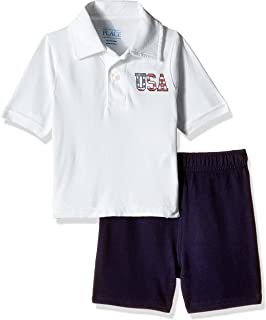 The Children's Place Baby Boys' Short Sleeve 'USA' Polo and Knit Shorts Set