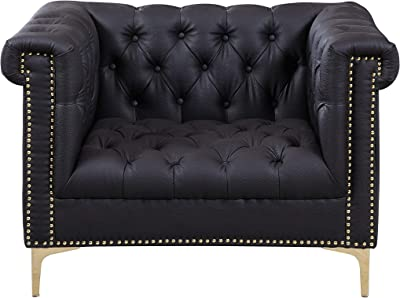 Iconic Home Gold/Black Winston PU Button Tufted with Nail head Trim Tone Metal Club Chair