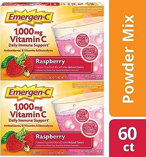 Emergen C 1,000 mg Vitamin C (60 Count, Raspberry Flavor, 2 Month Supply) Dietary Supplement Drink Mix, 0.32 oz Powder Packets, Caffeine Free