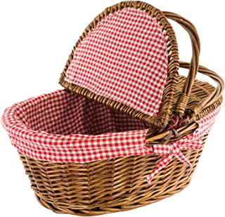 "Kovot Country Style Wicker Picnic Basket with Folding Handles & Liners | Measures 16.5"" x 13.5"" x 7.5"" 