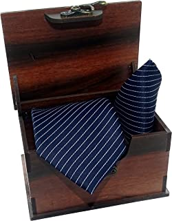Luxeis Men Premium cotton silk Neck Tie and Pocket Square wooden Combo Gift Set(Navy Blue, Free Size)