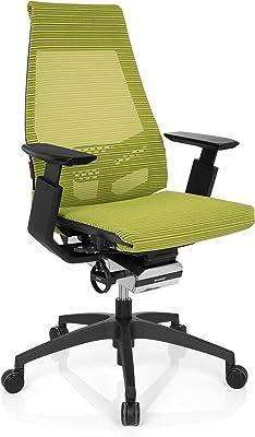 HJH Office 652882 Sedia da Ufficio/Sedia Girevole GENIDIA Smart Black Tessuto di Maglia Verde