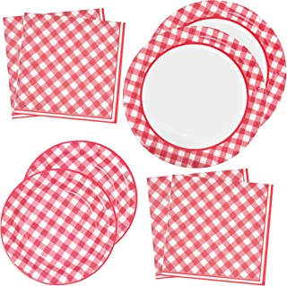Red Gingham Party Supplies Tableware Set 50 9