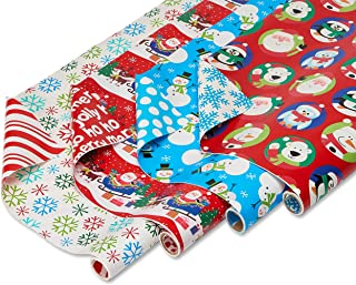 American Greetings Reversible Christmas Wrapping Paper, Santa, Snowflakes and Snowmen (4 Pack, 30