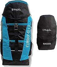 Mufubu Presents Climber 45 + 5 LTR Rucksack for Hiking, Trekking Travel Backpack with Rain Cover (Black/Blue)