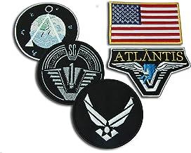 Stargate SG1 Atlantis - Juego de 5 insignias para chaqueta de equipo principal, cierre de gancho y bucle, parches: SG-1, Chevron, bandera de EE. UU, Atlantis y USAF