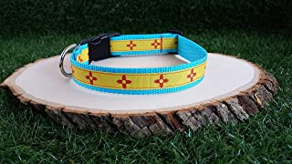 Zia New Mexico Turquoise Dog Collar, Zia Collar, Red And Yellow Zia Dog Collar, 1 Inch, New Mexico Flag Collar