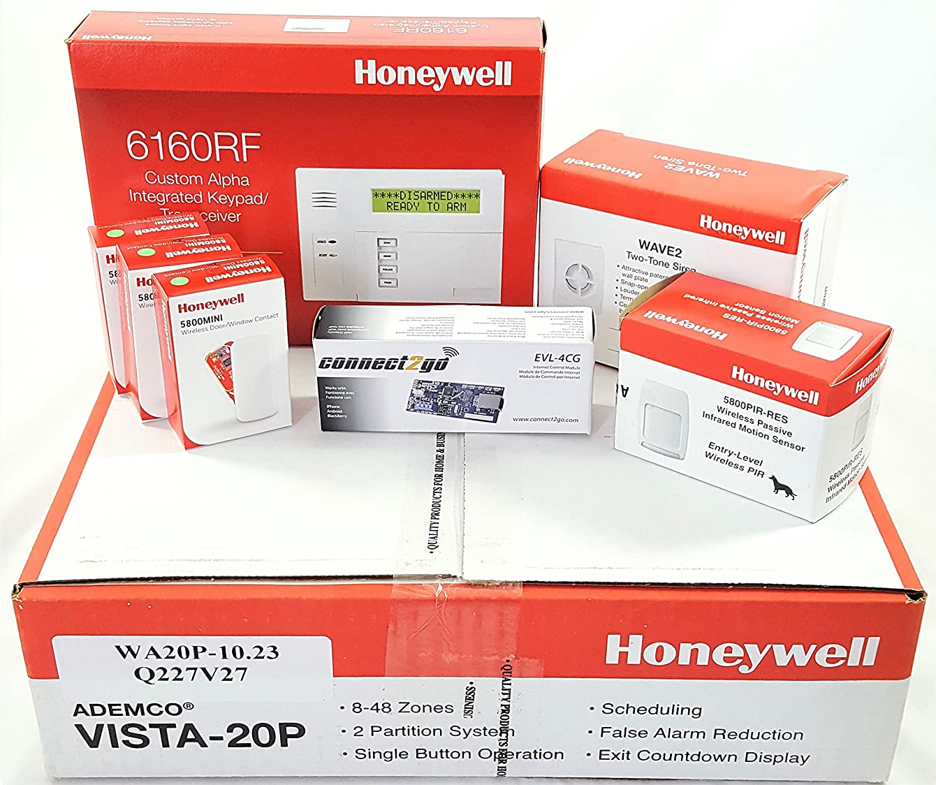 Honeywell Vista 20P Wireless Self Monitoring Kit with a 6160RF Keypad, One 5800PIR-Res Motion Sensor, One EVL-4CG EnvisaLink, Three 5800MINI Door/Window Contacts, and a WAVE2 Siren