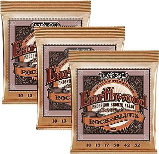 Ernie Ball Earthwood Rock and Blues w/Plain G Phosphor Bronze Acoustic Guitar Strings 3 pack - 10-52 Gauge