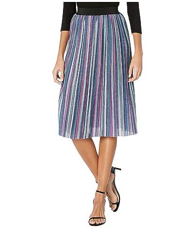 Unique Vintage Sparkle Pleated Susie Skirt (Pink/Blue Metallic Stripe) Women