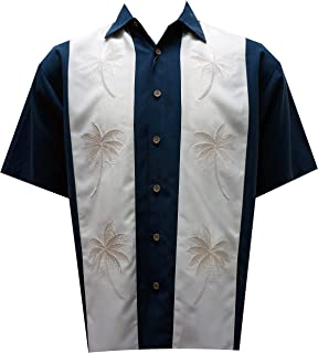 c53fc8920 Bamboo Cay Men's Hawaiian Paneled Palms, Embroidereed Tropical Button Down  Shirt