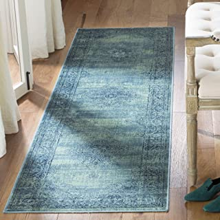 Safavieh Vintage Premium Collection VTG112-2220 Transitional Oriental Turquoise and Multi Distressed Silky Viscose Runner (2'2