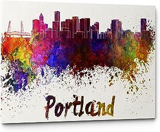 Watercolor City Splash Skyline Wall Art Canvas Print (Portland)