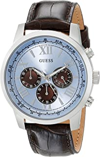 Brown Genuine Leather Stainless Steel Chronograph Watch with Ice Blue Dial. Color: Brown/Ice Blue (Model: U0380G6)