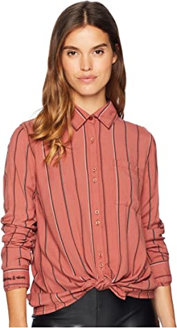 Concrete Streets Stripe Woven Traditional Top