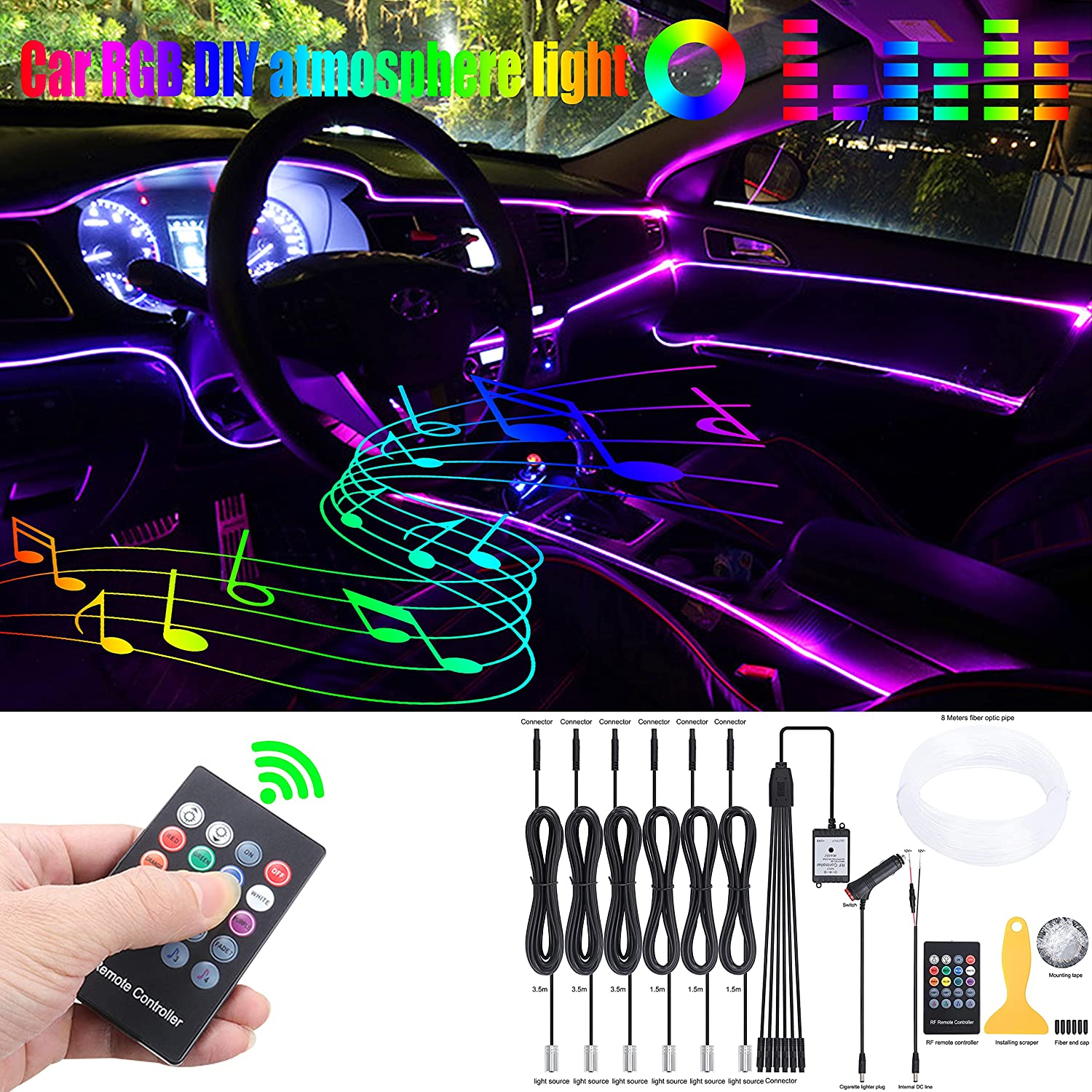 QAUBEN 8 Meters Optic Fiber Cable with R New color Car Lighting Ambient Attention brand RF