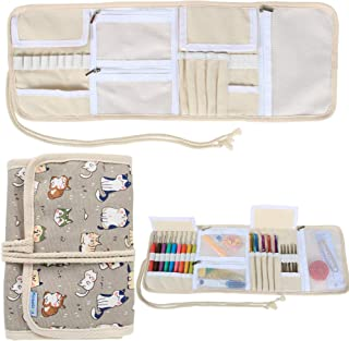 Teamoy Organizador de la caja de la lona para los ganchos de ganchillo Crocheting Needles Bag-Cartoon Cats(Sin accesorios ...