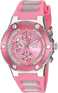 Invicta Women's BLU Stainless Steel Quartz Watch with Silicone Strap, Pink, 22 (Model: 24197)