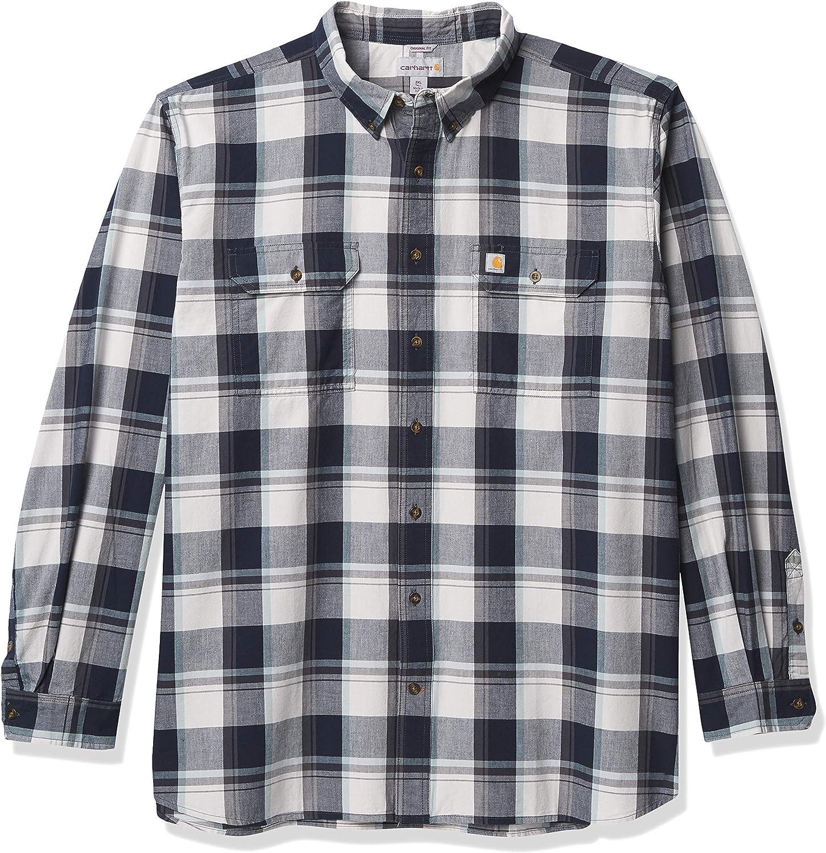 Carhartt Men's Petite Original Fit Chambray Long-Sleeve Plaid Shirt