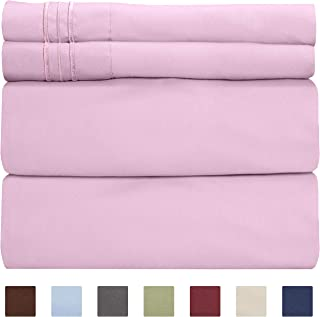 King Size Sheet Set - 4 Piece - Hotel Luxury Bed Sheets - Extra Soft - Deep Pockets - Easy Fit - Breathable & Cooling Sheets - Wrinkle Free - Comfy – Light Pink Bed Sheets - Kings Sheets – 4 PC