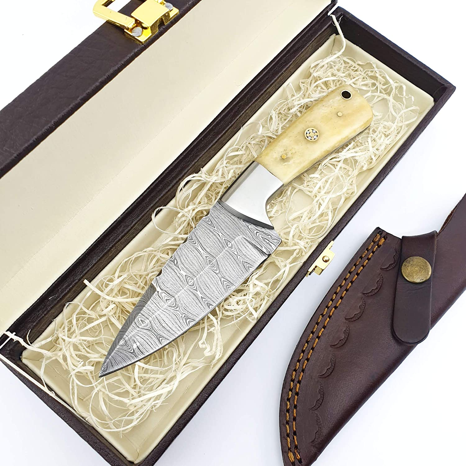 SS-1 Knife4U Damascus Hunting cheap Max 79% OFF Knife Best with Sheath Camping 8