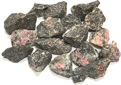 """Zentron Crystal Collection: Natural Rough Rhodonite Stones - Large 1"""" Pieces (1/2 Pound)"""