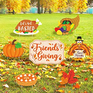 7PCS Friendsgiving Yard Signs with Stakes Thanksgiving Fall Theme Party Decorations Friends Gathering Home Outdoor Lawn Give Thanks Holiday Feast Party Supplies Photo Backdrop