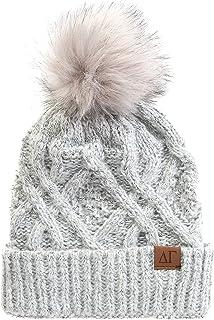 Delta Gamma Faux Fur Pom Winter Beanie Hat dg Gray