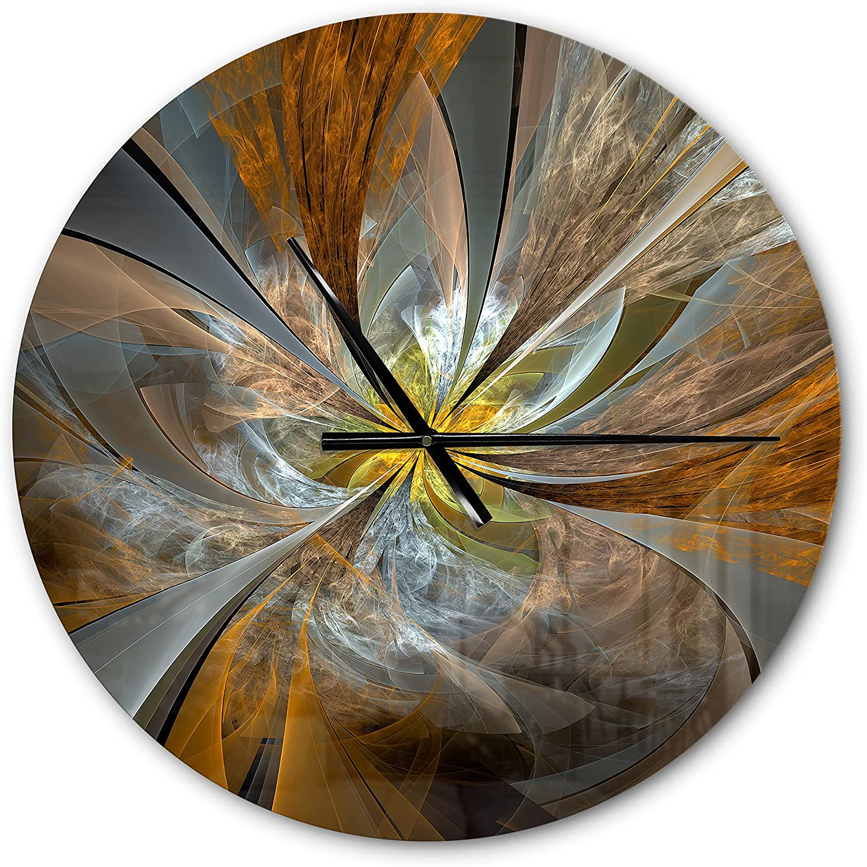 DesignQ 'Symmetrical Brown Fractal Flower ' Modern Wall Clock for Home Bedroom Bathroom Office Living Room Decoration