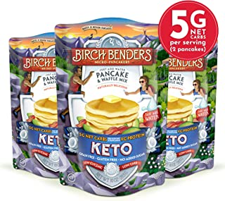 Keto Pancake & Waffle Mix by Birch Benders, Low-Carb, High Protein, Grain-free, Gluten-free, Low Glycemic, Keto-Friendly, Made with Almond, Coconut & Cassava Flour, 3 Pack (10oz each)