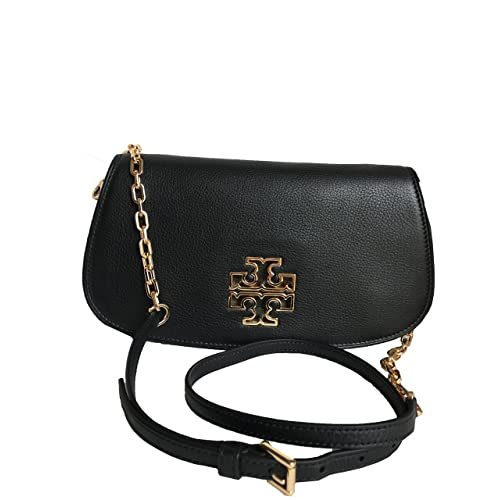 0e381e9e92d Tory Burch Leather Britten Clutch Chain Crossbody - Black 8095