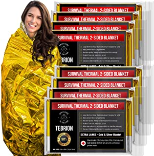 "TEBRION 8 Packs Extra Large - 63"" x 82"" Double Sided Emergency Thermal Foil Authentic Mylar Space Blankets Designed for NASA - Perfect for Bug Out Bag, Survival Kit, Camping, Auto, Outdoors"