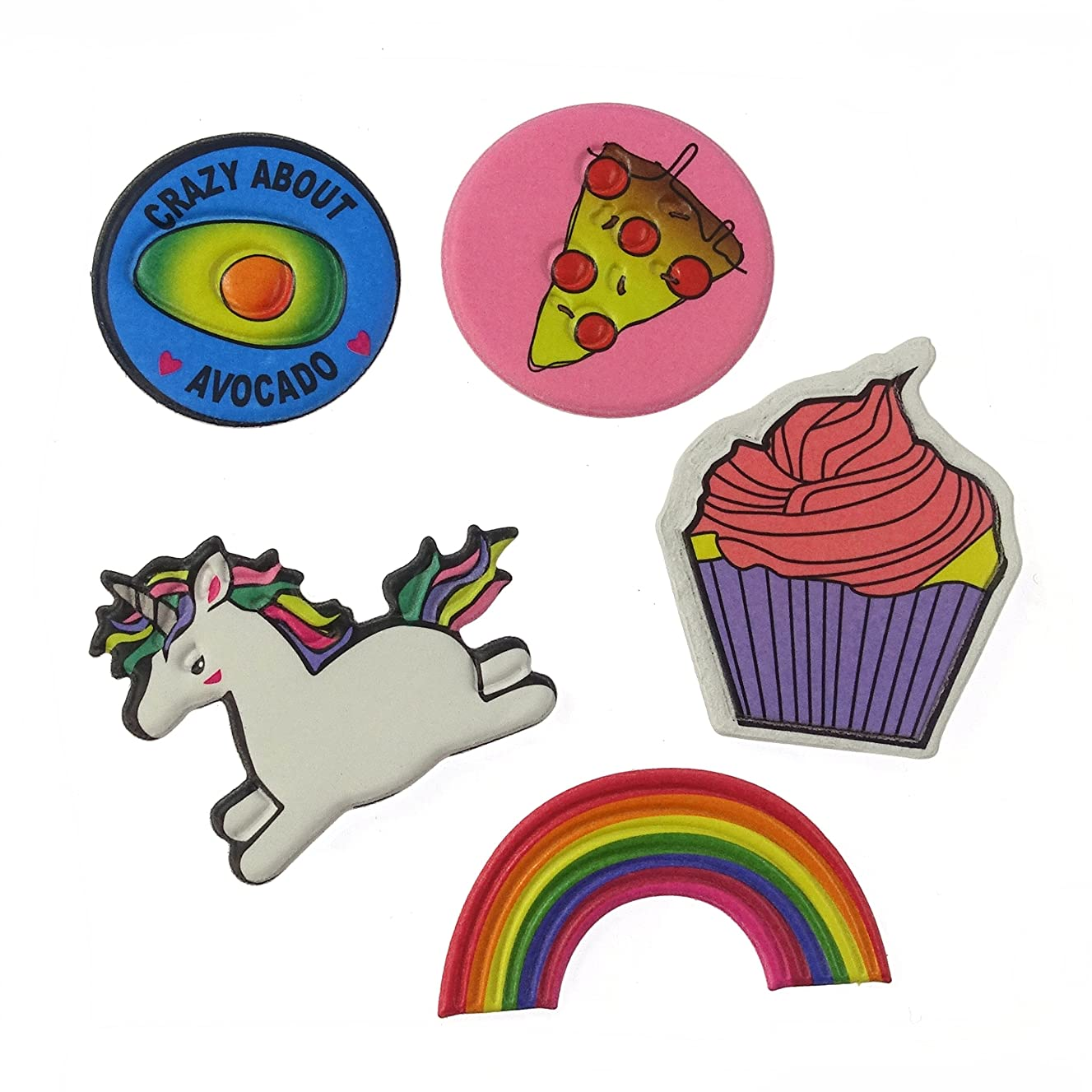 Polyurethane Padded Sticker Appliques Patches 5 Pieces Set for Bag, Laptop, Clothes, Phone Case