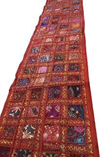 JGARTS Patchwork Embroidered Table Runner - Indian Sequin Cotton Boho Bohemian Hippie Patchwork Runner Tapestry Wall Hangi...