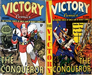 Victory Comics. Issues 3 and 4. The fighting forces of uncle sam in deadly combat. Features the Conqueror, Bomber burns, Seargent flagg and the crusader. Golden Age Digital Comics Military and War.