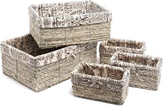 Juvale Nesting Storage Baskets - 5-Piece Wicker Decorative Cube Organizers Box Set for Shelf, Kitchen, Bathroom, and Bedroom, Stone Gray, Classical Text Design - 3 Small, 1 Medium, 1 Large