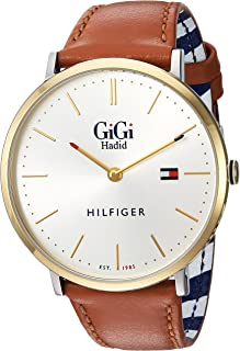 Tommy Hilfiger Women's Gigi Quartz Watch with Leather Calfskin Strap, Brown, 20 (Model: 1781749)