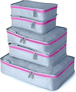 mumi Packing Cubes 5 Set Luggage Organizer Travel Cubes - Pink