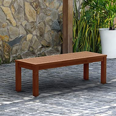 """Amazonia Aster Backless Patio Bench   Eucalyptus Wood   Ideal for Outdoors and Indoors, 53"""", Brown"""