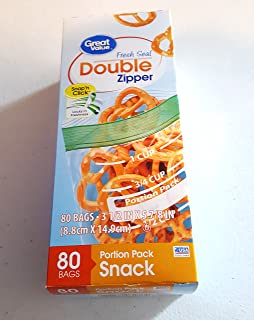 Great Value Double Zipper Portion Pack Snack Bags, 80 Ct
