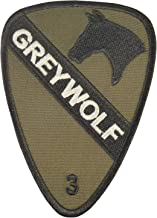 LEGEEON Olive Drab OD US Army 3rd Brigade Combat Grey Wolf 1st Cavalry Division Green Touch Fastener Patch