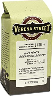 Verena Street 12 Ounce Whole Bean Coffee, Medium Roast, Julien's Breakfast Blend, Rainforest Alliance Certified Arabica Coffee