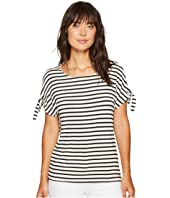 Calvin Klein - Short Sleeve Stripe Tee with Tie Sleeve