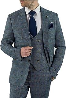 Cavani Mens 3 Piece Tweed Checked Suit Blazer Waistcoat Trousers Slim FIT Delray