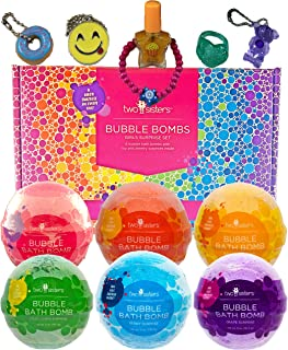 Bubble Bath Bombs for Girls with Surprise Toys and Kids Jewelry Inside by Two Sisters Spa. 6 Large 99% Natural Fizzies in Gift Box. Moisturizes Dry Sensitive Skin. Releases Color, Scent, and Bubbles.