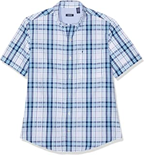 a8b07f03bf Izod Men's Seersucker Plaid Bd Ss Shirt Casual
