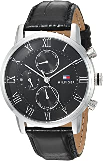 Tommy Hilfiger Men's Sophisticated Sport Stainless Steel Quartz Watch with Leather Strap, Black, 21.5 (Model: 1791401)