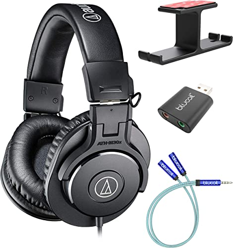 discount Audio-Technica ATH-M30x Professional Studio Monitor Headphones (Black) Bundle with Blucoil Aluminum Dual Suspension Headphone Hanger, USB Audio Adapter, and Y new arrival Splitter for high quality Audio, Mic online