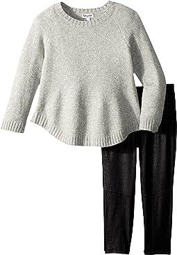 Splendid Littles - Poncho Sweater and Pleather Leggings Set (Little Kids)