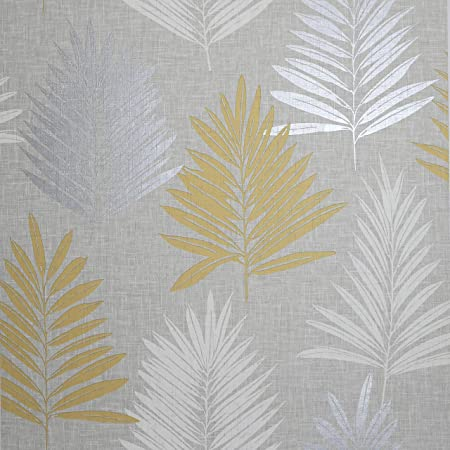 Arthouse Linen Palm Ochre Grey Wallpaper - Chic Leaf - Linen Effect Neutral Background - Textured - Contemporary & Stylist - Feature Wall or Every Wall - 687800